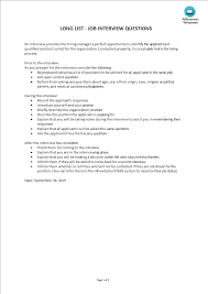Questionnaire Questions For A Business Job Interview Questionnaire Templates At