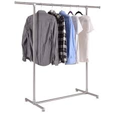 Portable And Expandable Garment Rack In Black Chrome 18 Months New Shop Costway Heavy Duty Stainless Steel Garment Rack Clothes Hanging