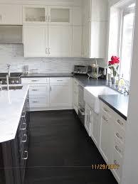 Kitchen With Dark Floors Cabinet White Kitchen Cabinet Dark Floors