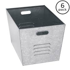 metal storage crates. Plain Storage Edsal 12 In W X 11 H 17 D Galvanized On Metal Storage Crates The Home Depot