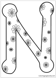 Each coloring page features standard block font print in upper and lower case. Letter N Image 5 Coloring Pages Alphabet Coloring Pages Free Printable Coloring Pages Online