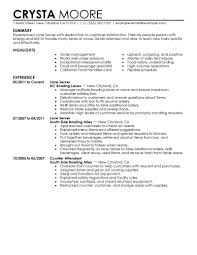 Serving Resume Template Server Experience Resume Examples Enderrealtyparkco 13