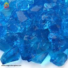medium 12 20mm turquoise crushed recycled fire pit glass chips