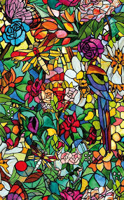 stained glass window decorative privacy home cling shower door cover spring