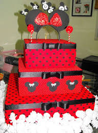 Three Tier Red Birthday Cake With Black Pokadots And Minnie Mouse