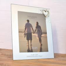 personalised mirrored glass frame with love heart 10 x 8