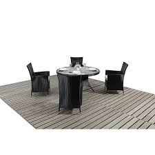 bonsoni round dining set 4 piece colour black includes a glass top circular