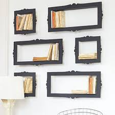 beautiful black finished wall mounted bookshelves plan as inspiring modern wall shelves hang on white wall over white shade corner table in contemporary