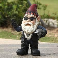 biker gnome statue