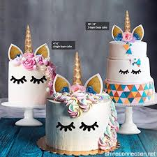 Unicorn Cake Topper With Eyelashes And Flowers Nalakuvara Handmade