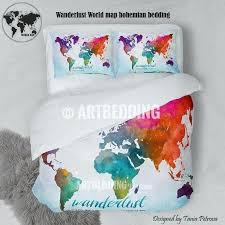 wander world map watercolor print bedding world map art duvet cover set bohemian duvet patchwork world
