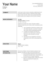 Resume Free Template Free Resume Templates Printable