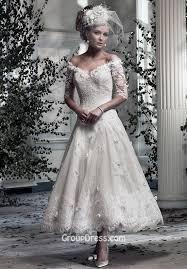 off the shoulder romantic lace v neck tea length a line wedding