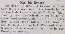 Ida Irene Horton Benson (1860-1903) - Find A Grave Memorial