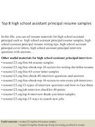Top 40 High School Assistant Principal Resume Samples Enchanting Assistant Principal Resume