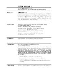 Sample Objective In Resume Police Officer Resume Sample Objective