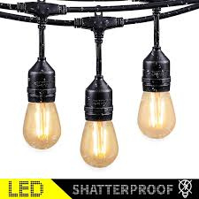 Shatterproof Patio Lights 48ft Outdoor String Lights With 15 Shatterproof Led S14 Edison Light Bulbs Etl Listed Commercial Patio Lights For Deck Backyard Porch Balcony Bistro