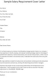 Cover Letter Salary Requirements Salary Requirements Cover Letter