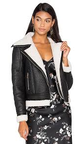 wool leather jacket with faux sherpa lining glamorous