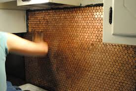 Penny Kitchen Floor Coin Backsplash A Crafter At Heart
