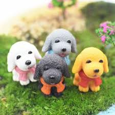 4 Pcs/set Mini Cute Dogs Resin Micro Landscape Home Car ... - Vova