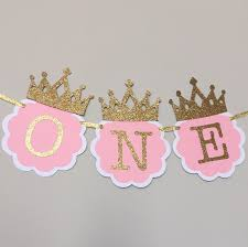 Gold Birthday Decorations Pink And Gold High Chair Banner First Birthday Decorations