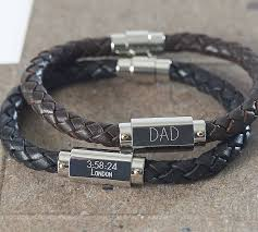 personalised leather men s identity bracelet