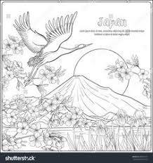 anese landscape with mount fuji and tradition flowers and a bird outline drawing coloring page