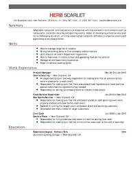 Food Service Resume Fascinating Restaurant Food Service Chronological Resumes Resume Help