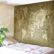 trendy retro world map wall hanging tapestry