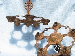pair antique eastlake cast iron chandelier lights w original painted finish