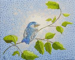 blue bird original bird painting oil painting on canvas textured baby bird ready to hang small 8 x 10