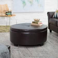 Belham Living Corbett Leather And Linen Coffee Table Storage Ottoman |  Hayneedle