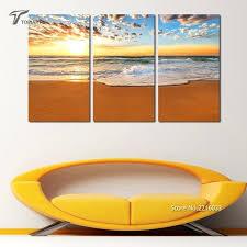 beach wall art wall decor painting canvas large beach wall art sunrise on sea triptych printed