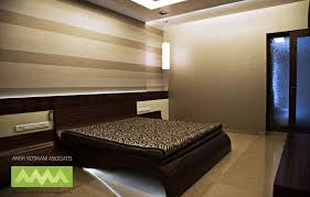 Small Picture Master Bedroom with wallpaper design by Anish Motwani Associates
