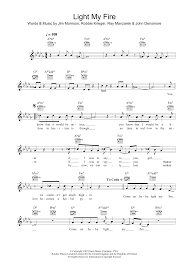 The Doors Light My Fire Chords Light My Fire By Will Young Lead Sheet Fake Book Digital Sheet Music