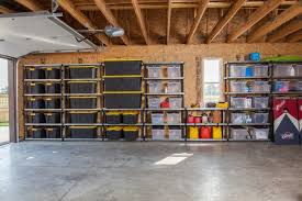 Exciting Garage Organization And Cabinets Garage Storage With Rack And  Paint Concrete Flooring