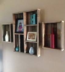 salvaged wood wall shelf and shadow box set of 3 home