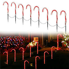 Christmas Winter Wonder Lane Light Up Candy Cane Garden Markers Holiday Lights