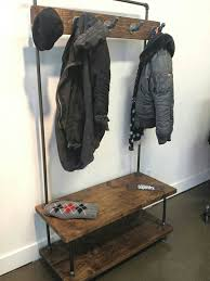 Industrial Coat Rack Bench Industrial Pipe And Wood Entry Coat Rack Bench Entrance 36