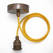 details about brass fabric cable pendant light set es e27 vintage industrial period edison