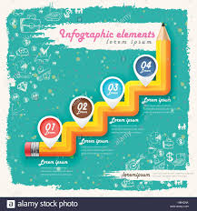 Creative Flow Chart Creative Retro Template With Pencil Stair Flow Chart Can Be