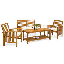 best choice s slatted 4 piece acacia wood sofa set w water resistant cushions