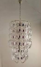 mid century murano glass giogali chandelier by angelo mangiarotti for vistosi for at pamono