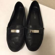 details about woman s coach fredrica black leather loafer flats driving shoes size 7 5b