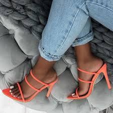 Hot Sale <b>Silentsea New</b> High Heel Slippers <b>Shoes Female</b> Mule ...