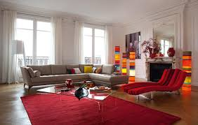 red rugs living room with red unique sleep chair and glass coffe