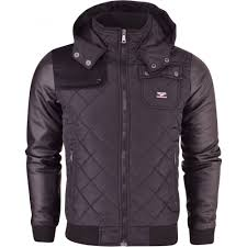 north play mens north play hooded diamond quilted padded er jacket coat leather look arms