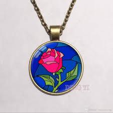 whole retail vintage beauty and beast rose necklace art pendant glass dome cabochon necklace diy jewelry diamond pendants necklaces round pendant