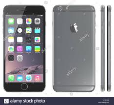 apple iphone 6 plus space gray. apple space gray iphone 6 plus showing the home screen with ios 8. iphone e